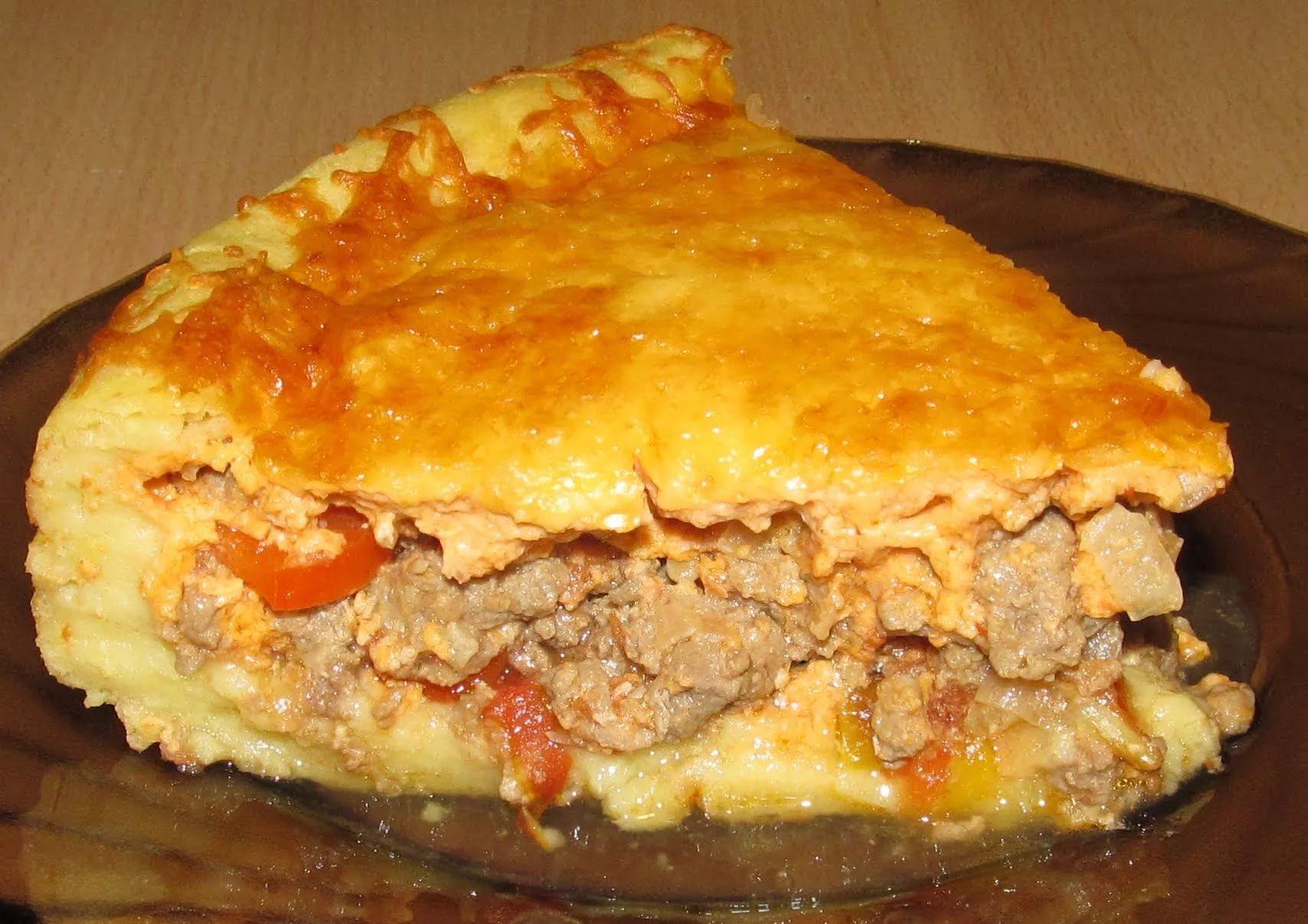 Пирог картофельный с фаршем пошагово
